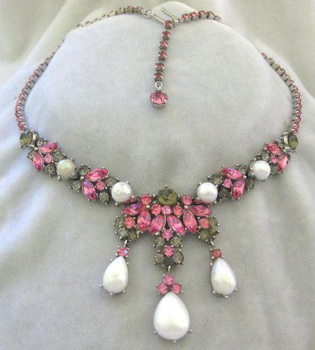 Trifari Pink Grey Pearl Vintage Rhinestones Necklace | eBay