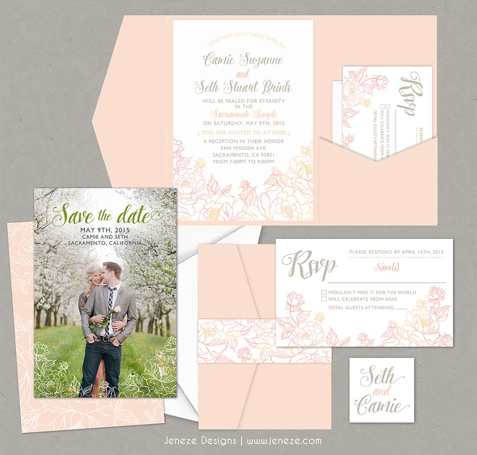 Pretty sping pocket wedding invitations Blush pink pocket cards
