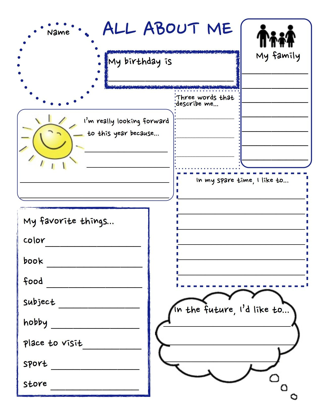 worksheet First Day Of School All About Me Worksheets all about me preschool template 6 best images of printable pinterest printable