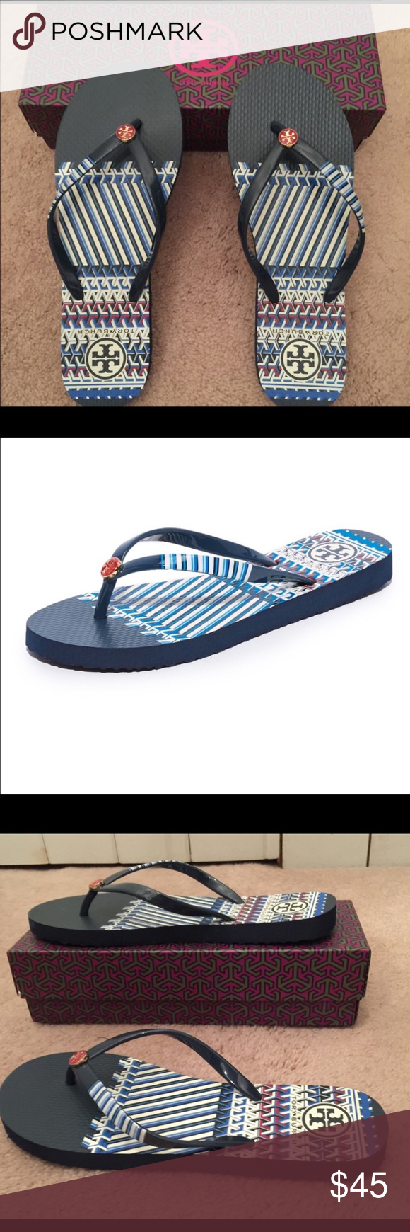 5ee341ad807a Tory Burch Darby Border Thin Flip Flop 💯% authentic Tory Burch Darby  Border Thin Flip Flop NIB iconic stacked T red   gold medallion on a blue    white ...