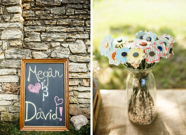 chalkboard sign and paper flowers