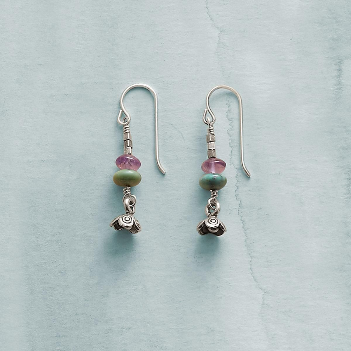 """MYSTIC RIVER EARRINGS--Streams of opal, labradorite and amethyst mimic river currents while sterling silver flowers bloom on shore in earrings that has us dreaming of sunny days. Sterling silver wires. USA. Exclusive. 1-3/8""""L."""