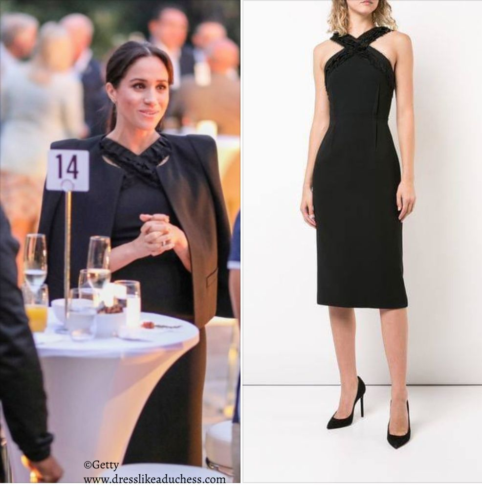 Jason Wu Black Halter Crossover Day Dress Meghan Markle Dress Like A Duchess Day Dresses Meghan Markle Style Meghan Markle Dress