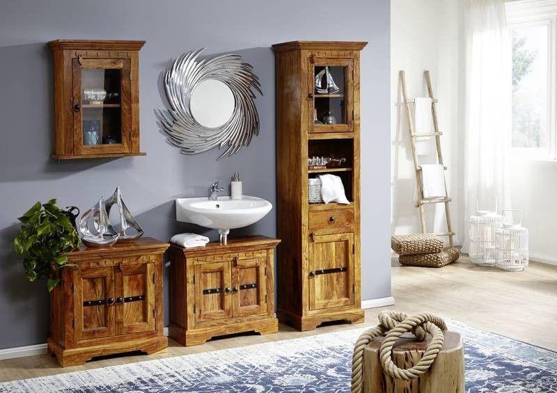 Oxford Badmobel Komplett Akazie Honig Massiv Mit Bildern Waschbeckenschrank Waschbeckenunterschrank Hochschrank