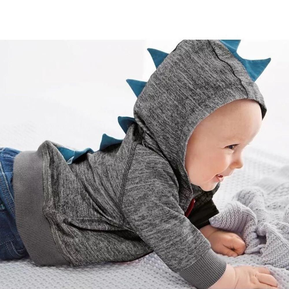 Cute Baby Dinosaur Hooded Zipper Jacket Baby Boy Outfits