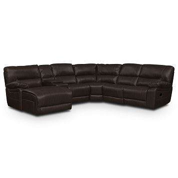 Wyoming Godiva Leather 5 Pc Reclining Sectional Reverse