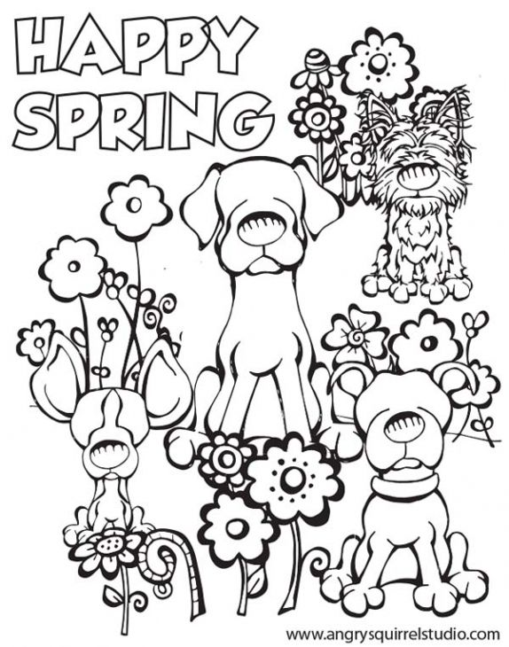 Happy Spring Coloring Page To Print For Kids Spring Coloring