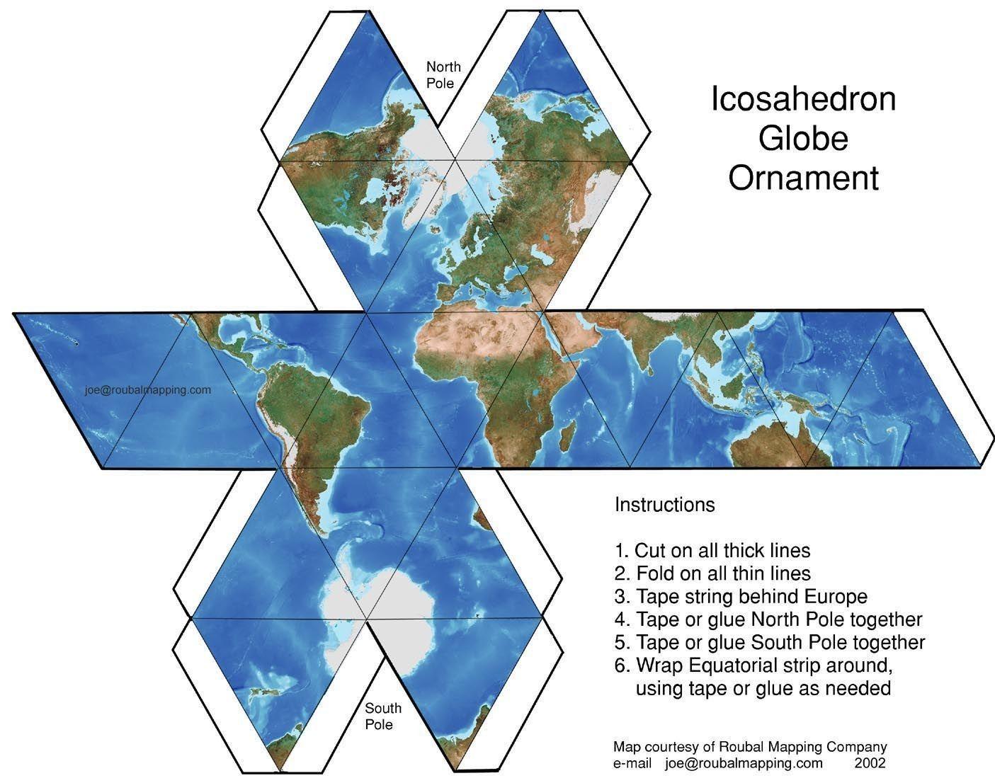 Papercraft Globe Diy Icosahedron Globe Motif Maps Amp Globes