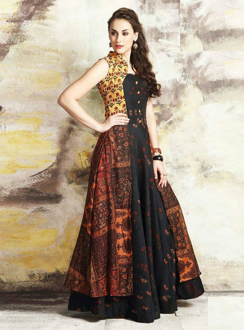fe0cd3632e Shop Black Cotton Readymade Printed Gown 139898 price - 49 USD online at  best price from vast collection of designer gown at Indianclothstore.com.