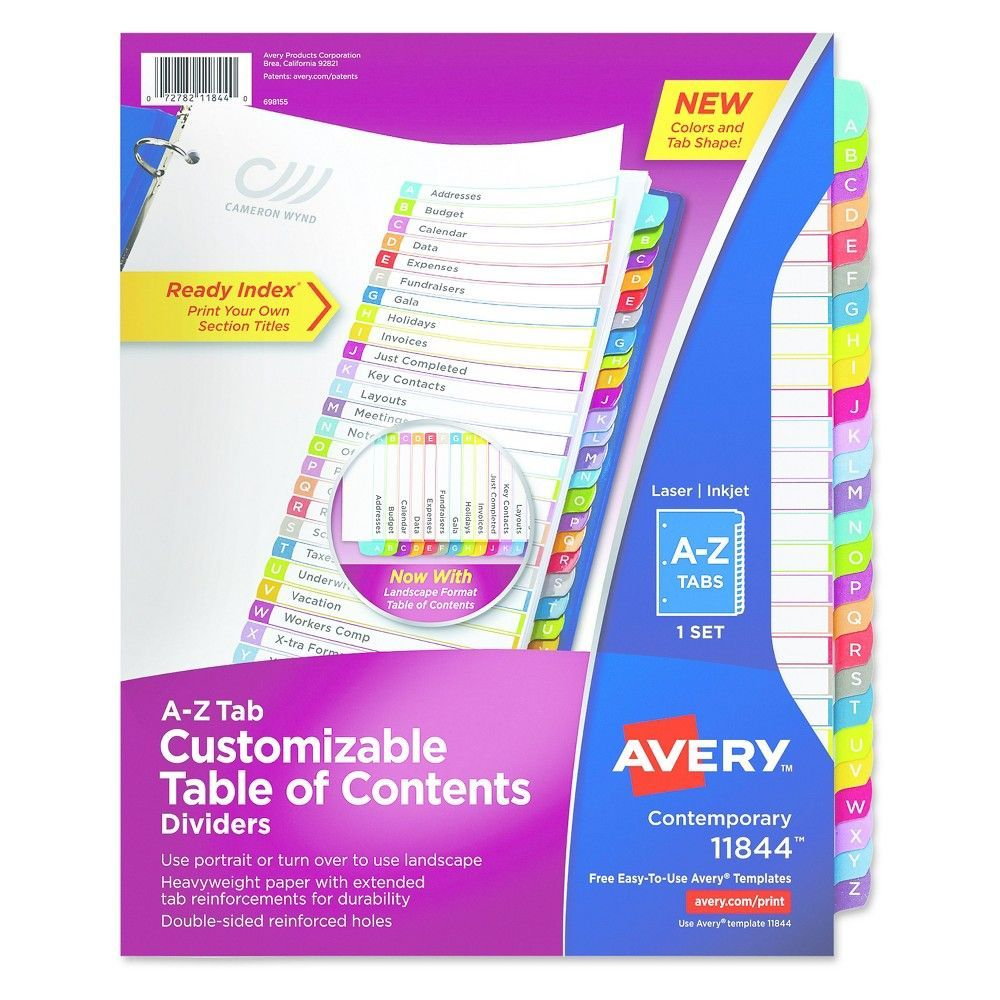 Avery Ready Index Table Of Contents Dividers Multicolor Tabs