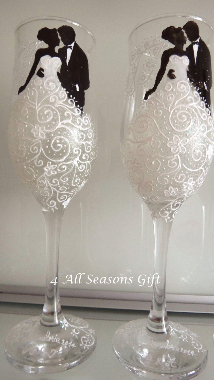 Personalised Hand Painted Wine Glass Wedding dress wedding groom bridesmaids ;