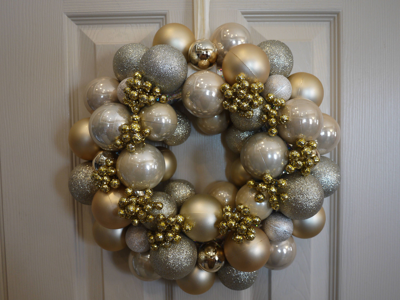 Free Shipping Christmas Ornament Wreath Christmas Ball Wreath Holiday Wreath Gold With Go Christmas Ornament Wreath Ornament Wreath Rustic Christmas Wreath