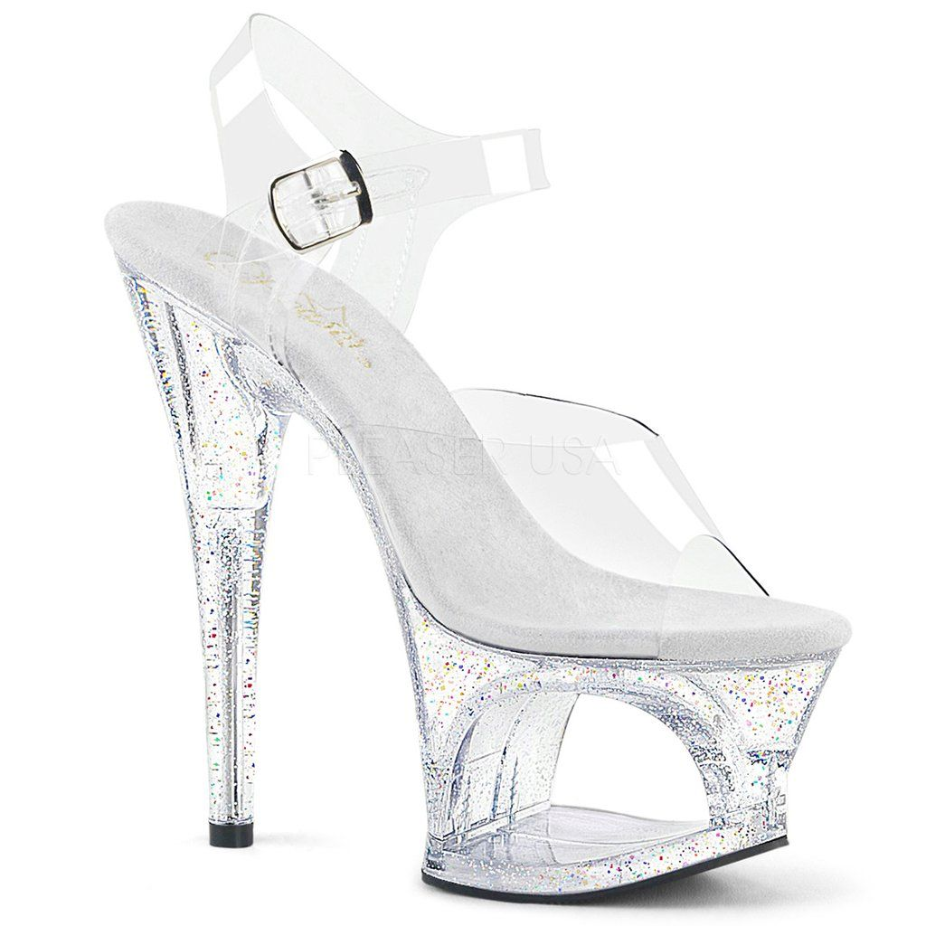 80069b2b7f1d Turquoise Glitter Filled Clear Platform Adore Sandals in 2018 ...