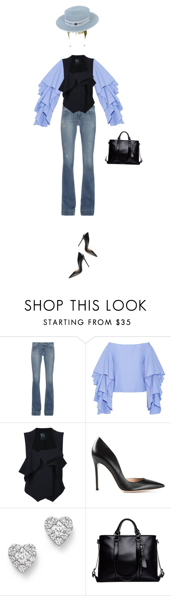 """""""suchan:241"""" by suchan ❤ liked on Polyvore featuring J Brand, Rosie Assoulin, Y's by Yohji Yamamoto, Gianvito Rossi, Bloomingdale's, Maison Michel and hats"""