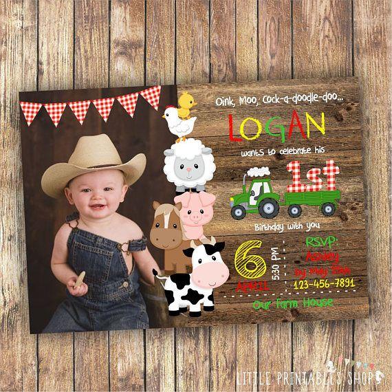 Farm Birthday Photo Invitation For A Boy Or Girl Instant