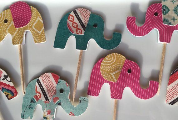 Elephant Cupcake Toppers  Indian inspired by TheCraftyBroad1111
