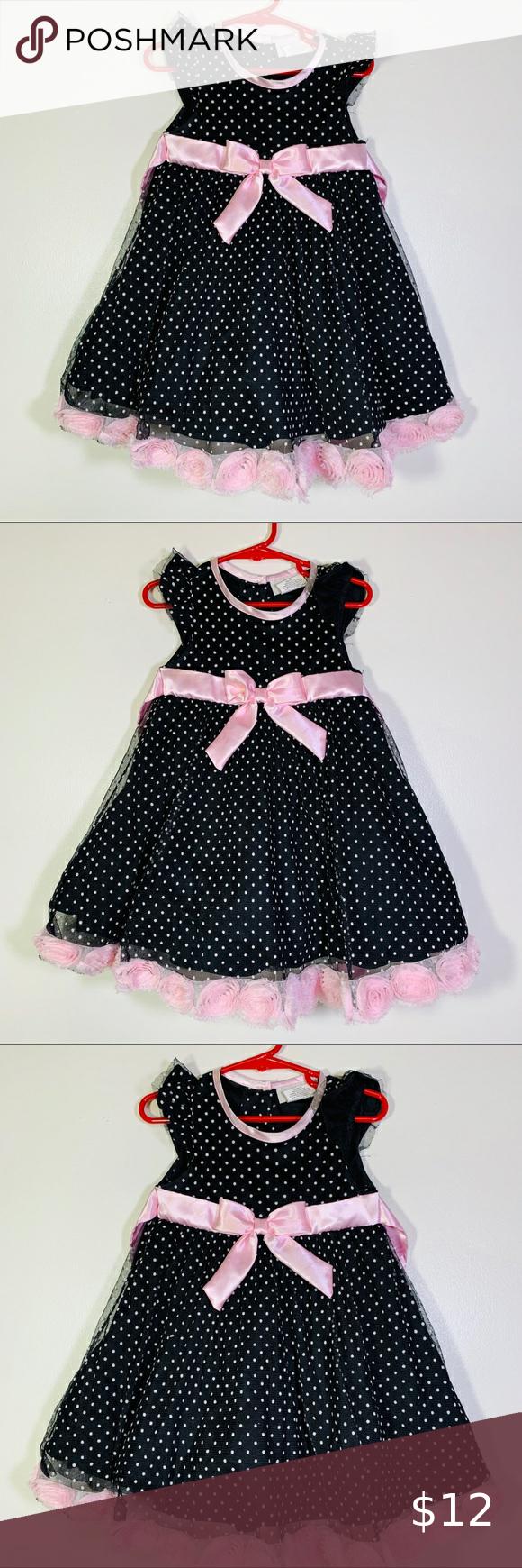 Black Pink Polk A Dot Toddler Dress 3t Toddler Dress Toddler Party Dress Baby Spring Dress [ 1740 x 580 Pixel ]