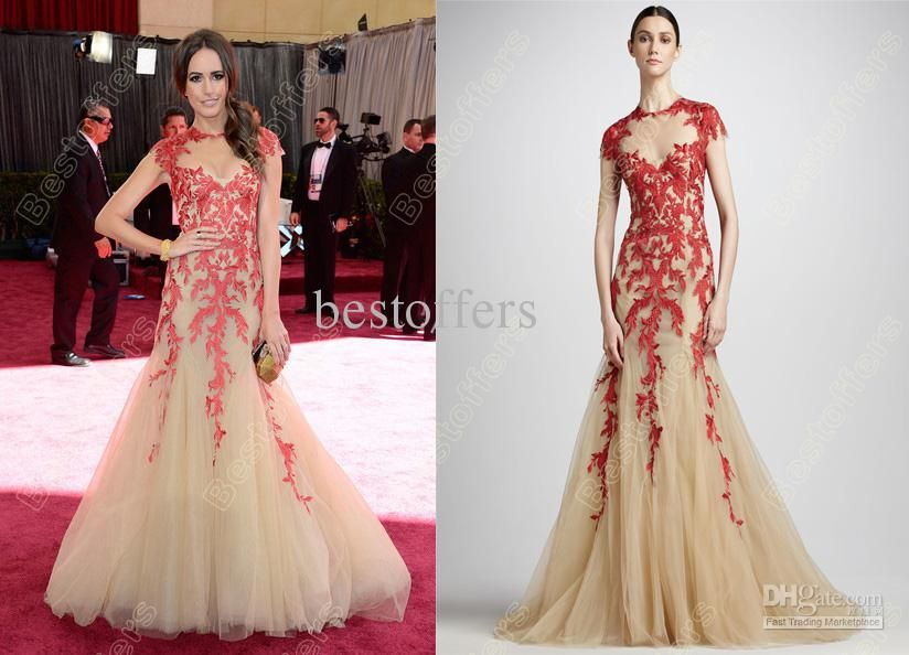 Custom Made 85th Oscar Awards Celebrity Dress Red Lace Liques Zuhair Murad Louise Roe Dh