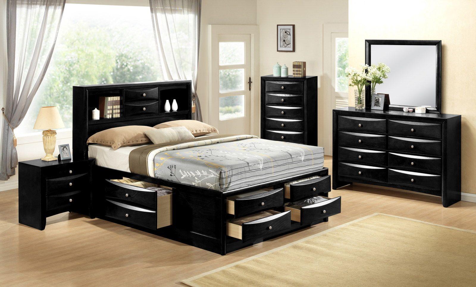 Crown Mark Furniture Emily Captain S Bedroom Set In Black