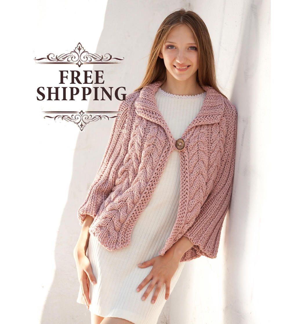 Light Pink Poncho Sweater Loose Knit Poncho Cape Cable Knit Poncho ...