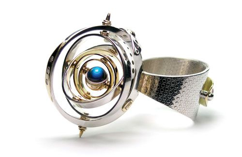Claudio Pino Ring: Infinity 14k gold, 925 sterling silver, moonstone, diamonds, ruby Kinetic Ring * Awarded with the 2009 Steele Trophy – MA...