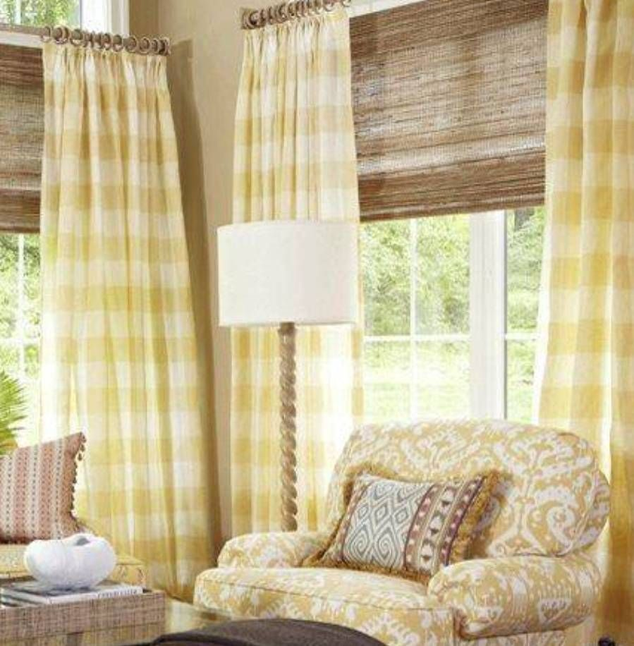 Yellow Checks French Country Curtains In Living Room With Blinds Beautify You Window Treatments Living Room Farm House Living Room French Country Dining Room