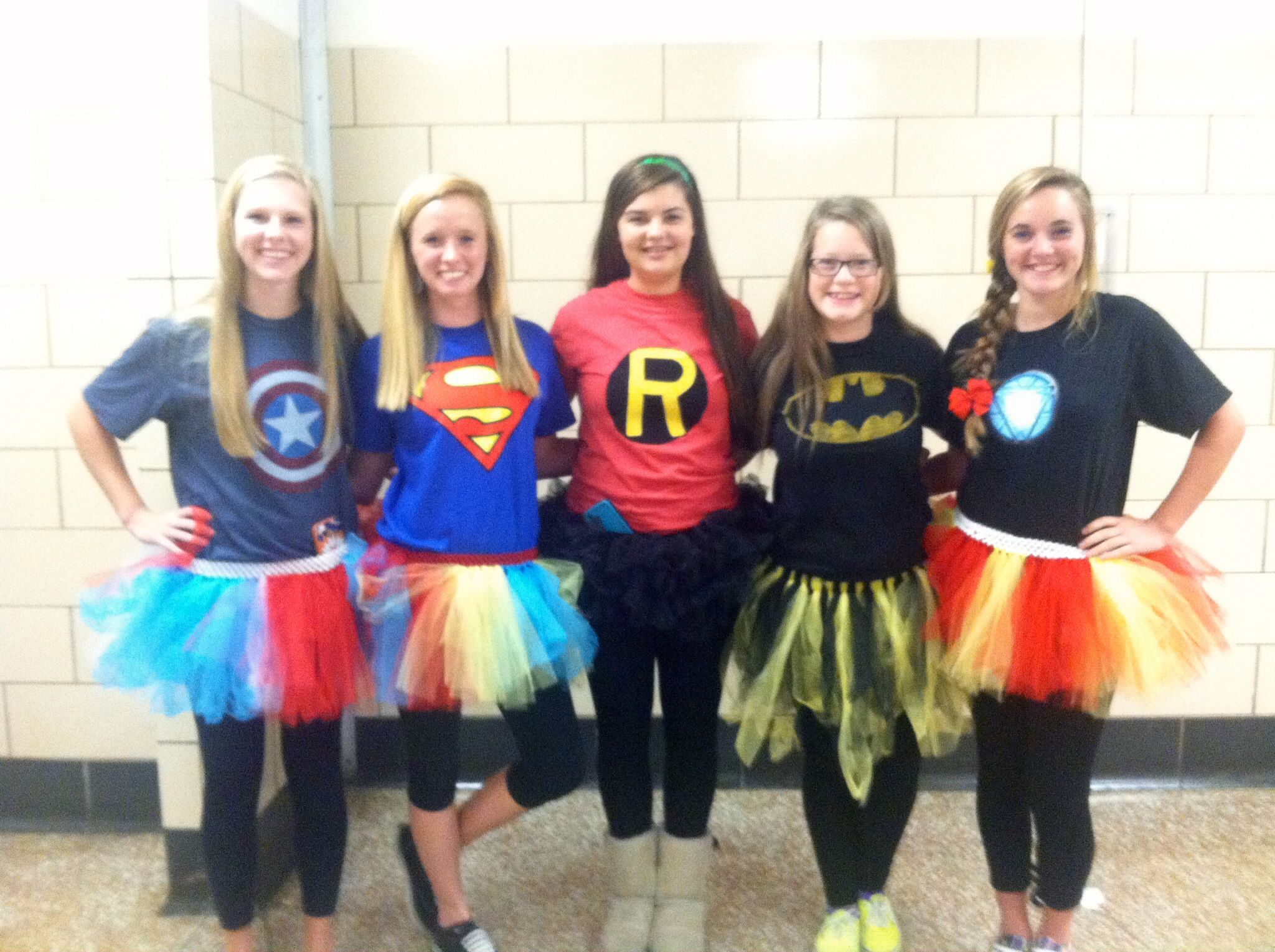 Super hero day! Homemade tutus and tshirts! Super hero costumes ...