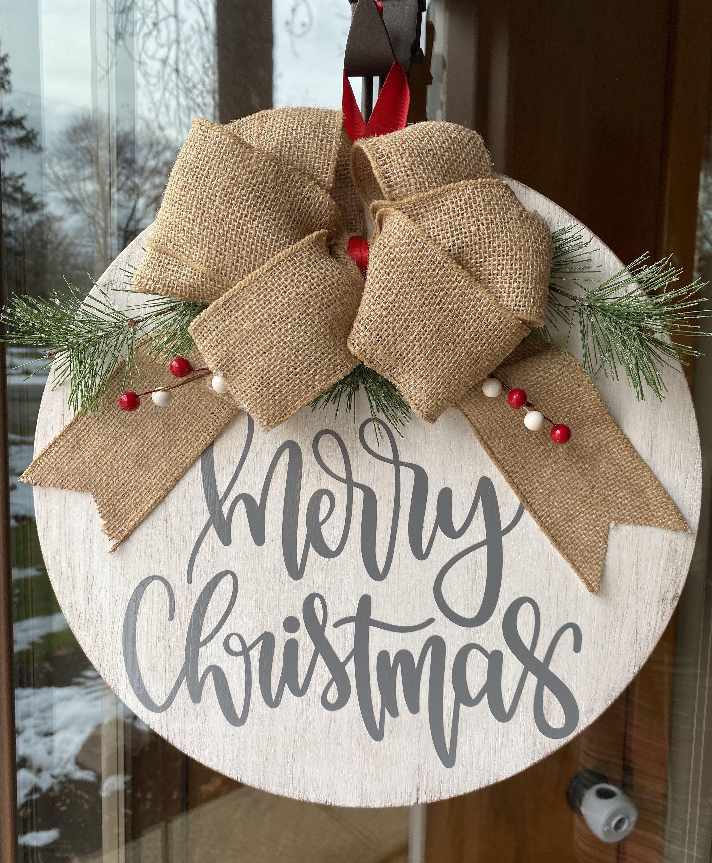 Fall Wreath Farmhouse Door Hanger Wooden Wreath Merry Christmas Front Door Decor