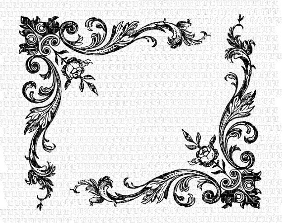 Floral Corner Border Antique Victorian Designs Vintage Clip Art ...