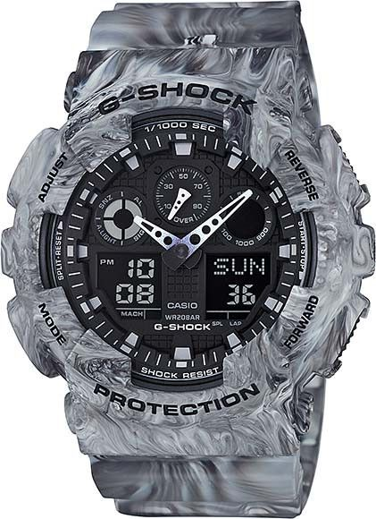 mens g shock marble camouflage model no ga 100mm 8a g shock mens g shock marble camouflage watch grey strap black dial and grey case brand new supplied official casio guarantee and presentation box