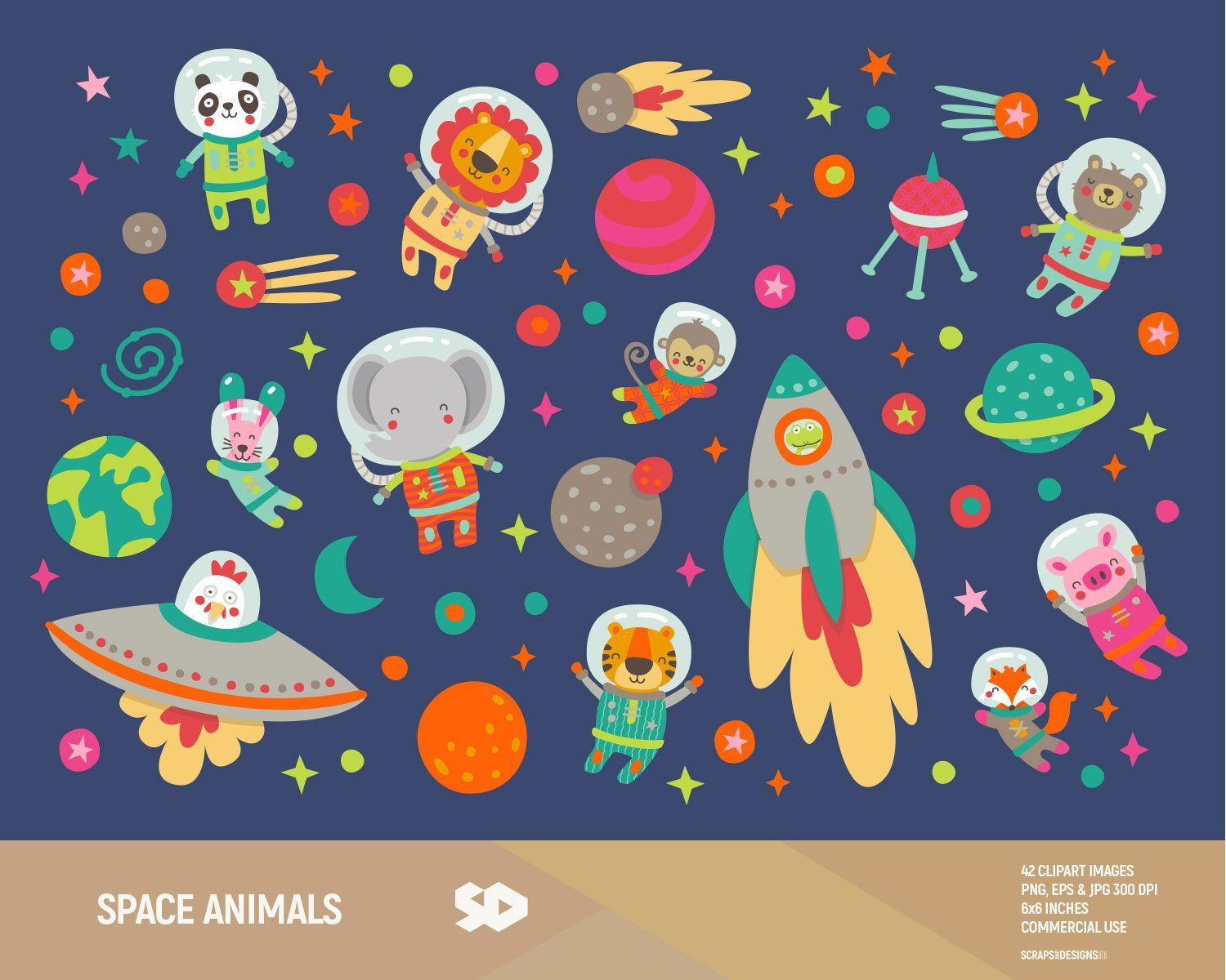 Space Animals Clipart Astronaut Safari Zoo Clip Art Party Kids Baby Shower Nursery Vector Printable School Illustration Commercial Use In 2021 Space Animals Animal Clipart School Illustration