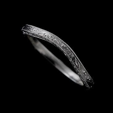 Vintage Style 14k Solid Gold Delicate Thin Curved Engraved Wedding Band