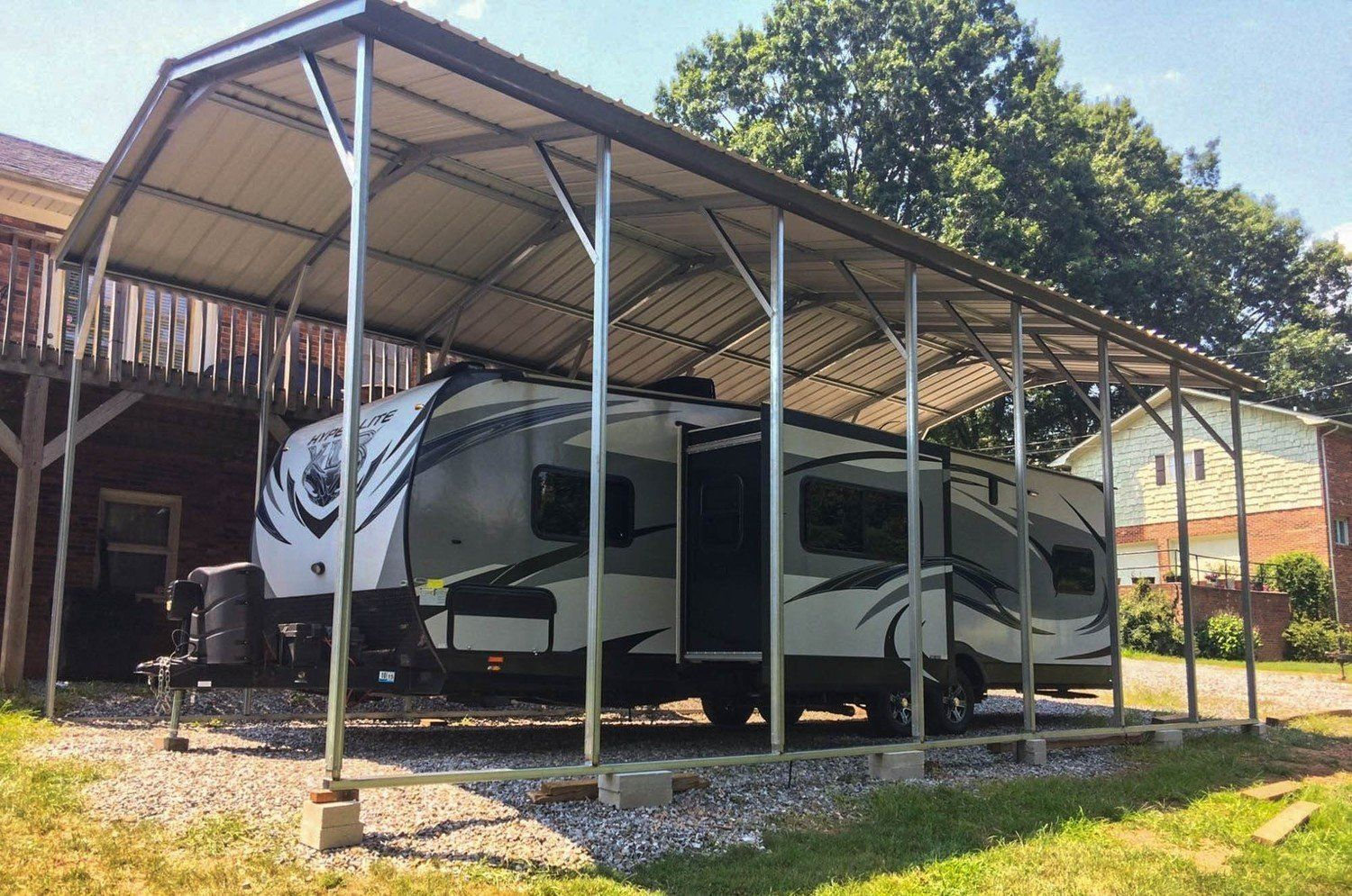 Rv Carport Installed 12 X 36 X 12 With Our Strongest Vertical Snow Roof 12g Frame And A 20 Year Warranty 8211 Steel Carports Carport Window Installation