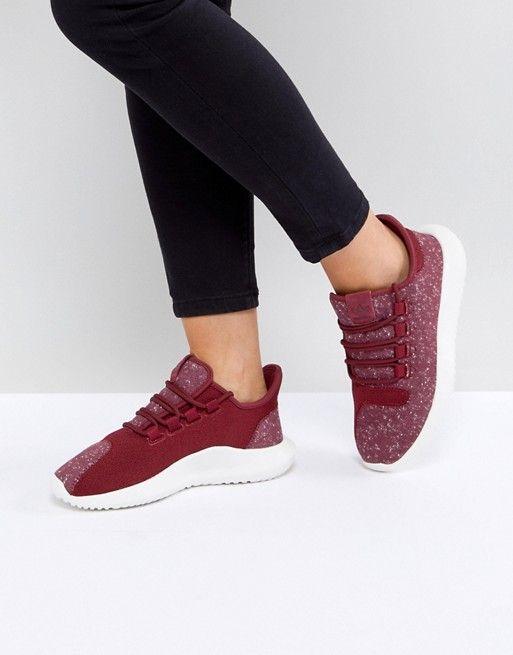 Adidas Originals zapatos tubular de sombra formadores en Borgoña