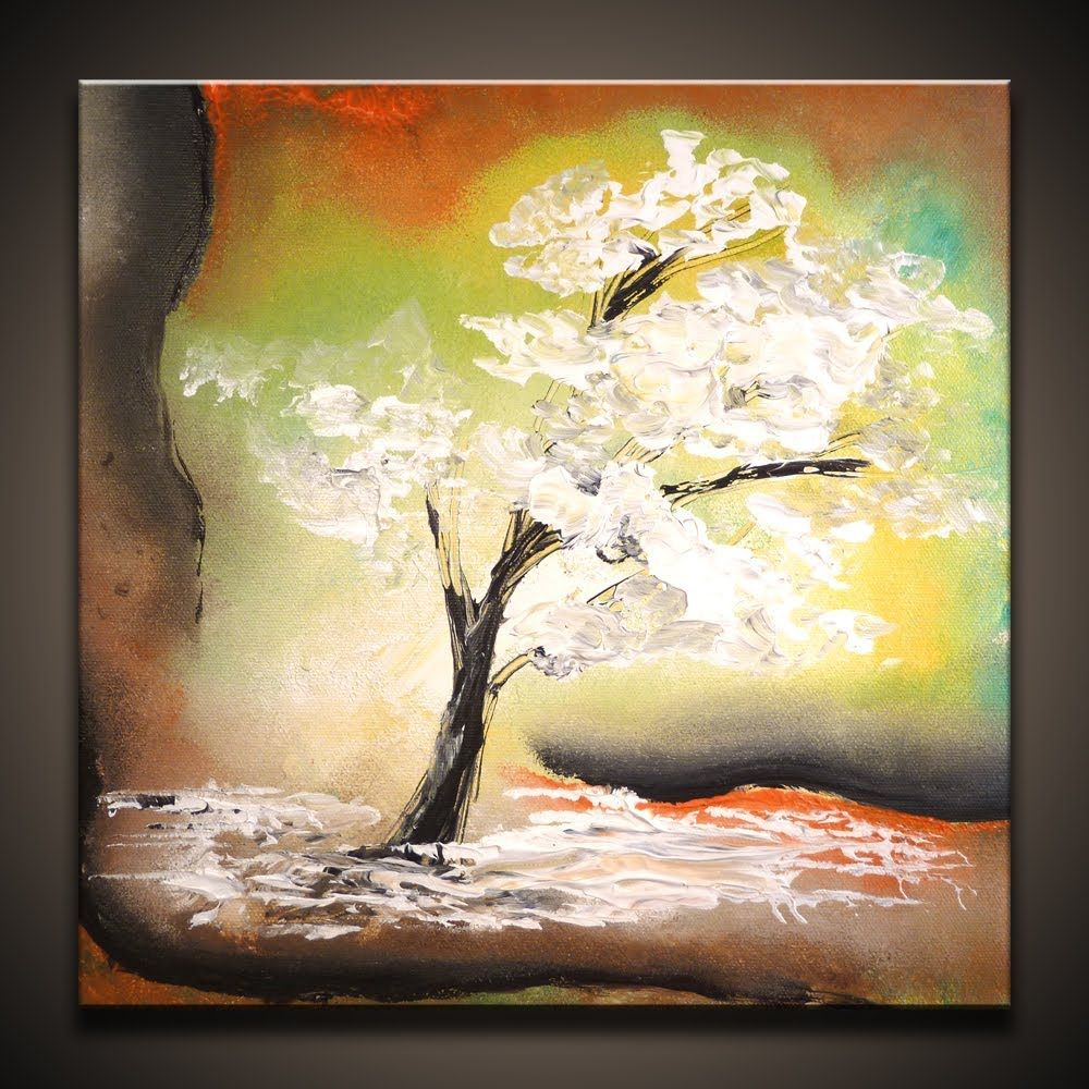 White Tree How To Paint A Simple Abstract Art Painting Techniques