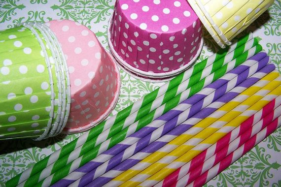 Paper straws And Treat Cup Combination In pretty by shabbygirl2, $10.65