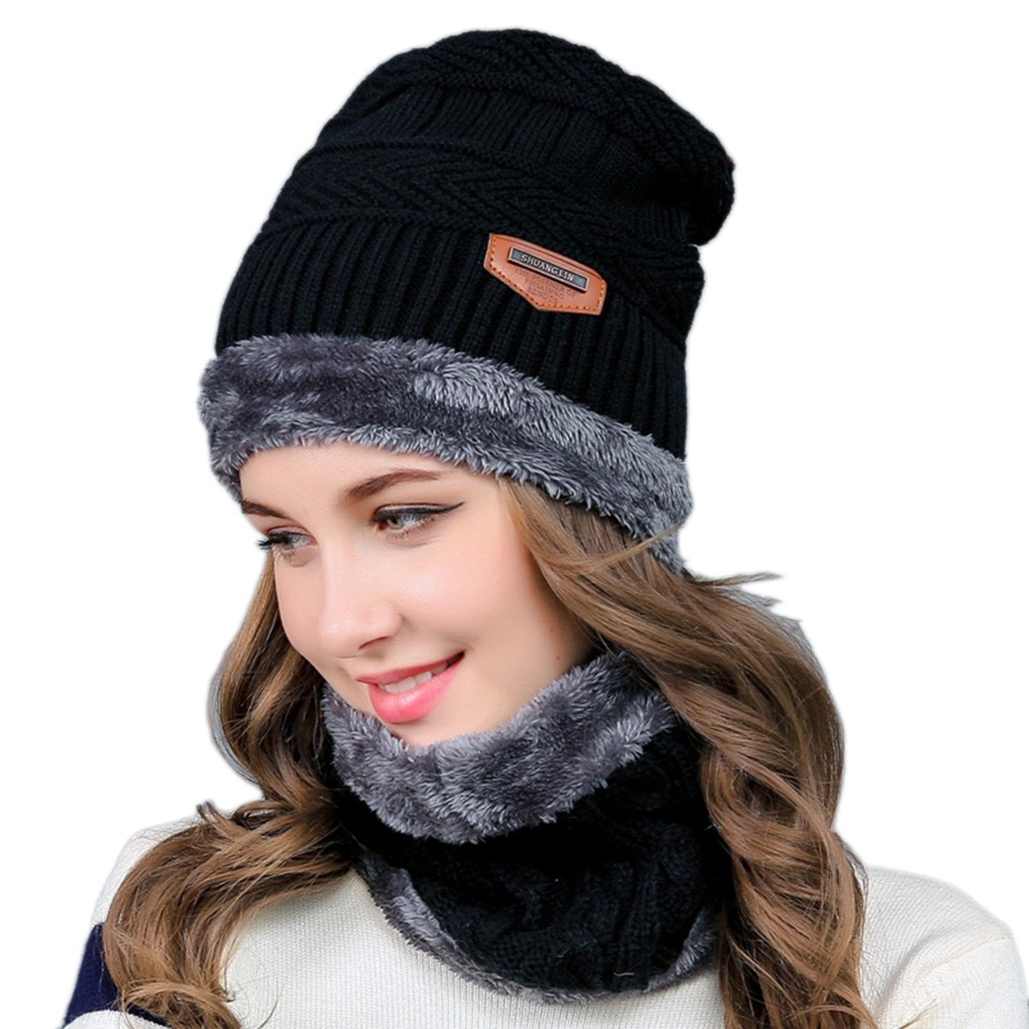 c998747a274 2-Pieces Winter Knit Hat and Circle Scarf with Fleece Lining- Warm Beanie  Cap for Women - Black - CP186XYSLIO - Hats   Caps