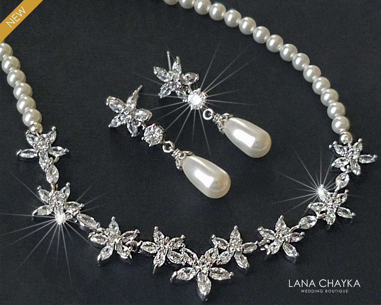 Pearl Bridal Jewelry Set, White Pearl Silver CZ Se
