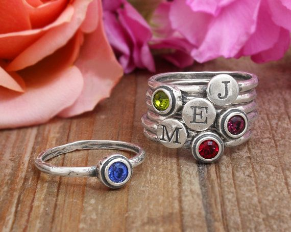 Birthstone Jewelry Mother Of Pearl Ring Birthstone Rings for Mom SALE April Birthstone Ring Collection Birthstone Stacking Ring