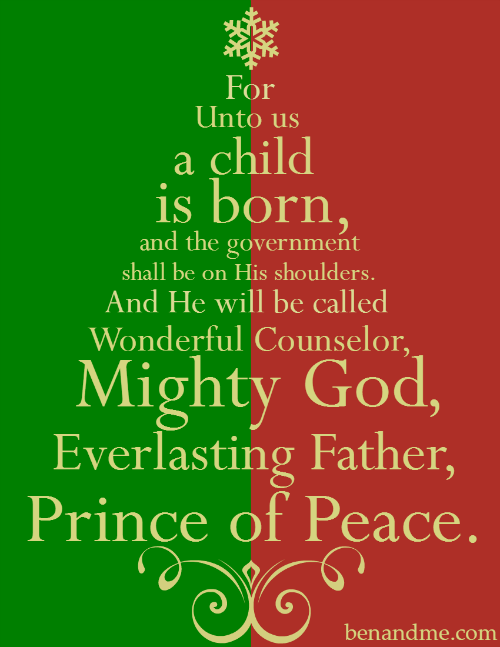 For Unto Us a Child Is Born (Isaiah Christmas Tree Print) | Free christmas printables, A child ...
