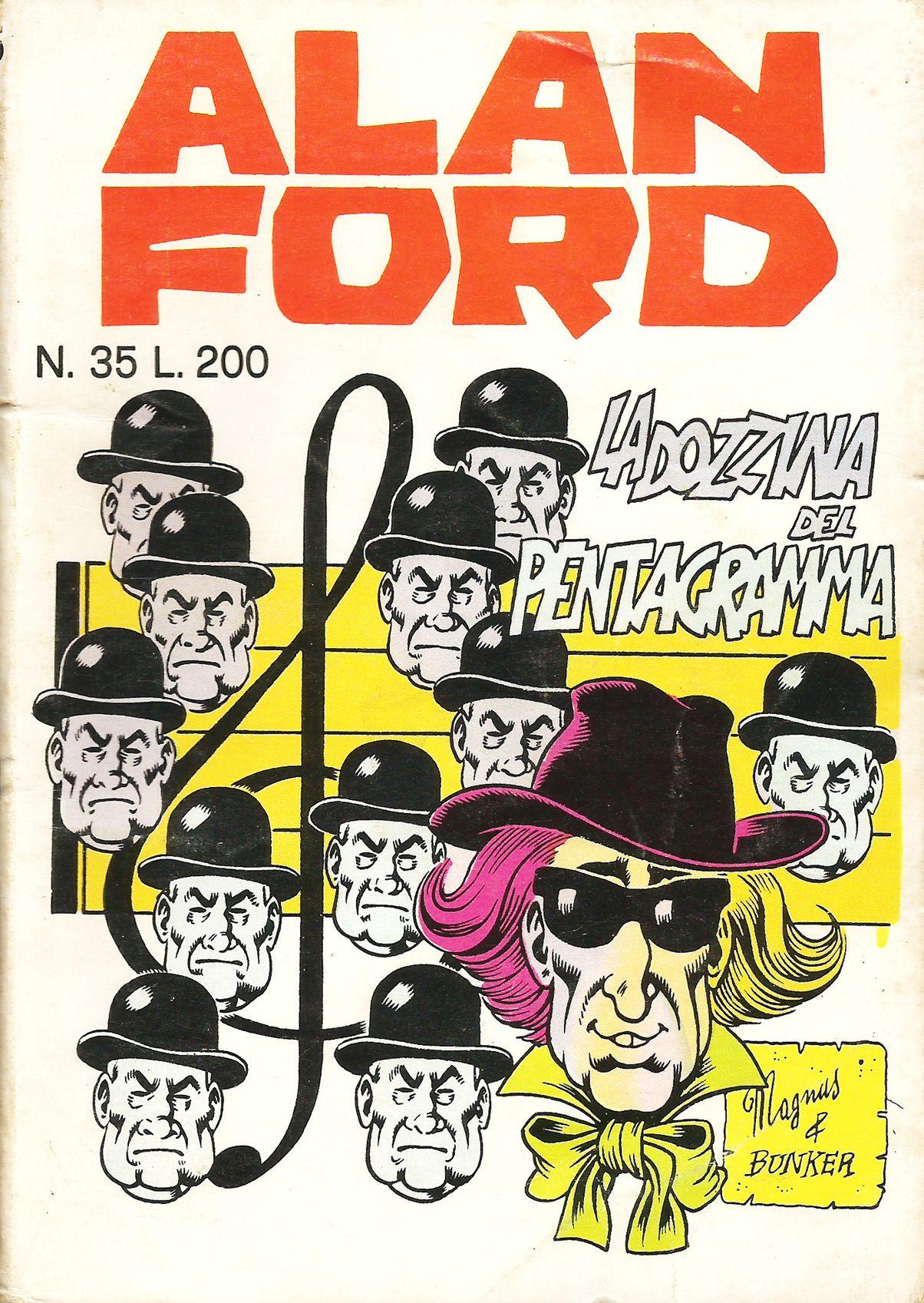 """Alan Ford n.35 """"La Dozzina del Pentagramma"""", di Magnus [Roberto Raviola], chine di Giovanni Romanini - maggio 1972"""