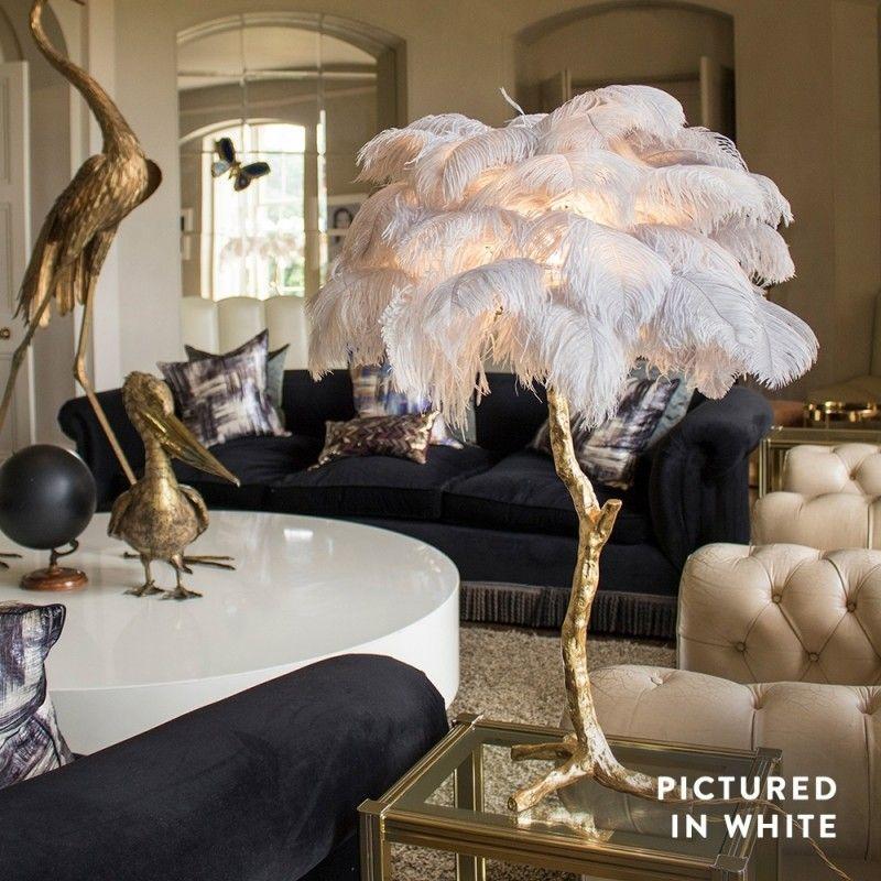 A Modern Grand Tour Mini Ostrich Feather Lamp Gold Base