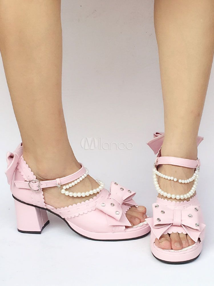 d3c930285ee Pink Lolita Shoes Chunky Heel Ankle Strap Peep Toe Lolita Sandals ...