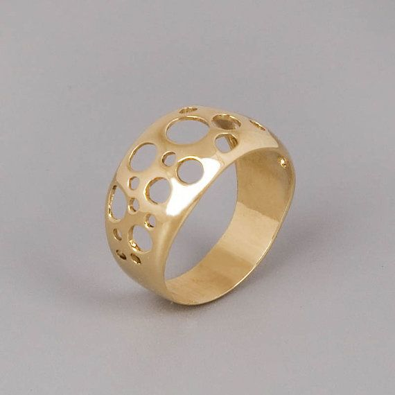 Gold Circles Ring, Gold Statement Ring, Bubbles Ring, Fine Ring ...