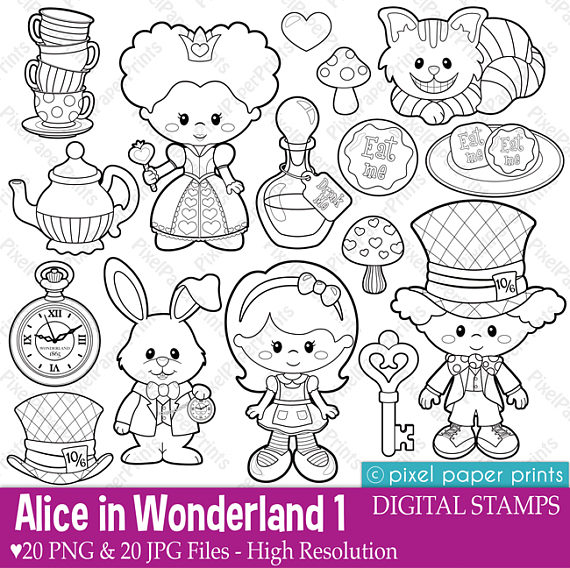 Alice in Wonderland Part 1 - Digital Stamps - Clipart | escuela ...