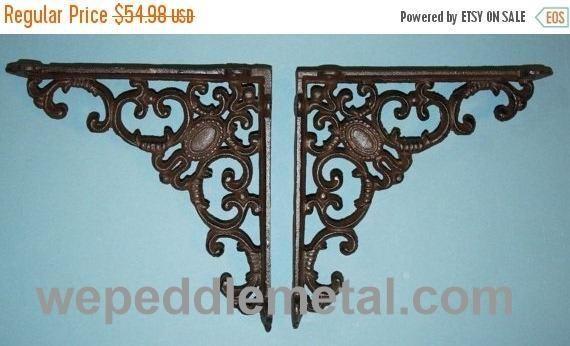 "4 pcs) Cottage chic design shelf brackets, cast iron shelf brackets, decorative shelf brackets, corbels, free shipping, 8"", B-29"