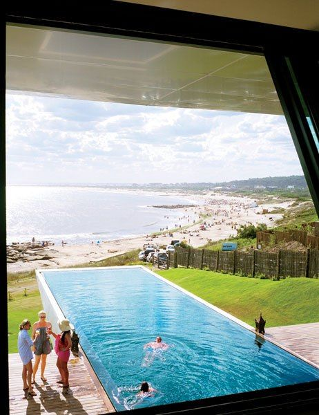 This stunning, 19-room boutique hotel is renowned for its low-slung sculptural design, created by Uruguayan architect Carlos Ott in 2010. The 75-foot lap pool is made of indigenous black absolute nero granite, and cantilevers out over the beach below. At night, the pool's bottom is illuminated by a fiber-optic system that displays the celestial map of the southern hemisphere, which plays along the water's surface like hundreds of twinkling stars. vikretreats.com