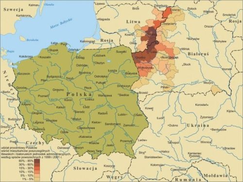 Percentage Of Ethnic Poles In Lithuania And Belarus Maps - Belarus map