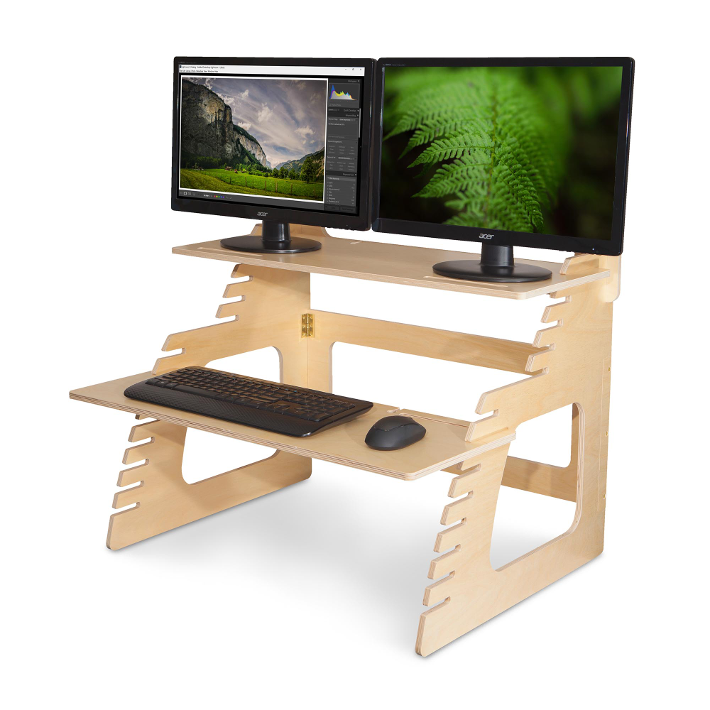 Dual Monitor Well Desk Standing Desk Converter Monitor Stand