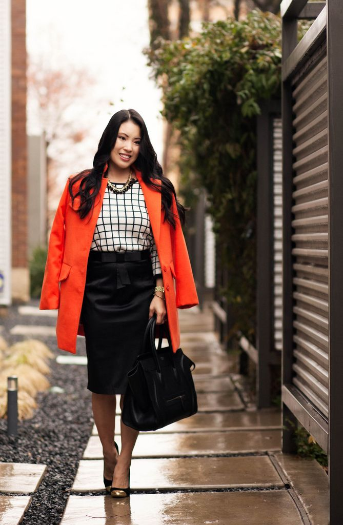 cute & little blog | orange long coat, windowpane grid sweater ...